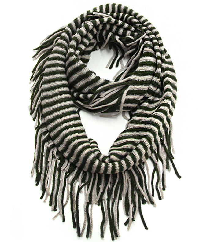 Striped Fringe Infinity Scarf - Hunter Green & Cream