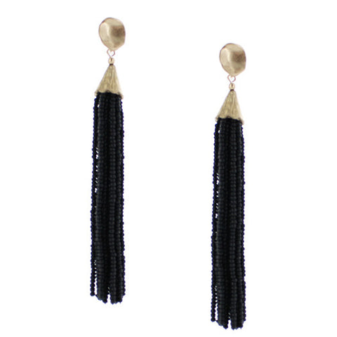 Pixi Beaded Fringe Tassel Earrings - Black