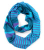 Two-Toned Striped Infinity Scarf - Blue & Purple