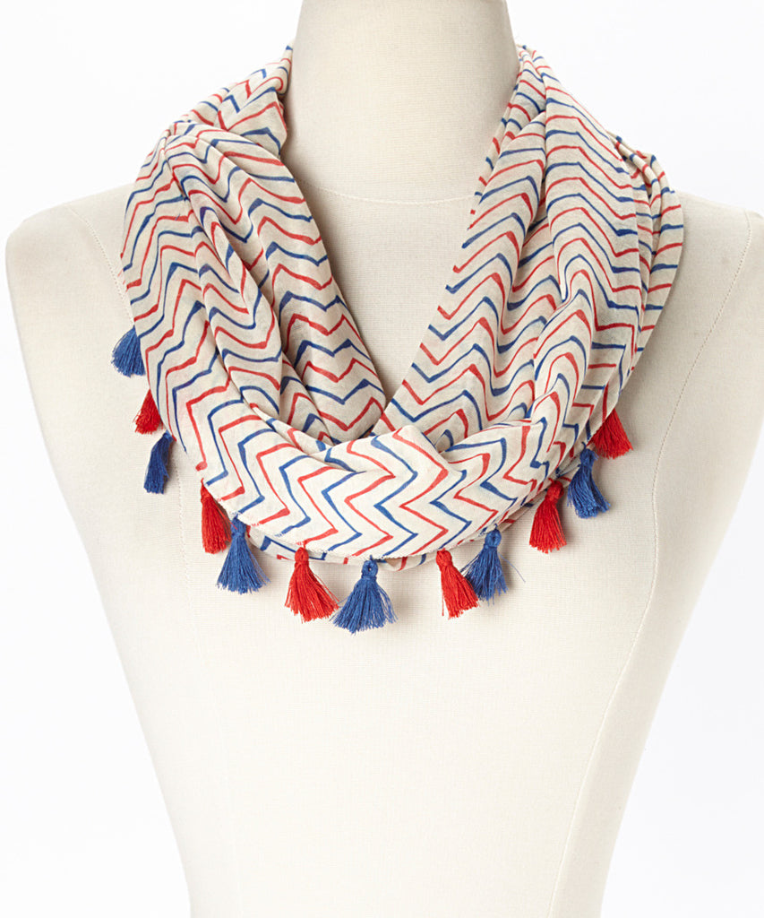 Tassel Red, White & Blue Scarf