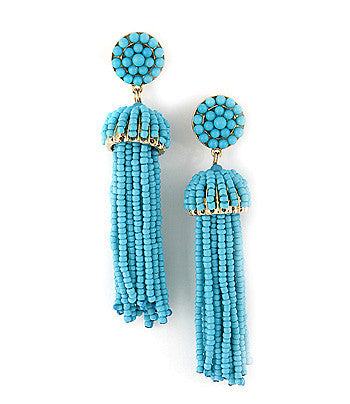 Beaded Fringe Tassel Earrings - Turquoise