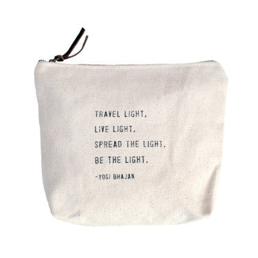 Travel Light, Live Light .... Quote Canvas Bag