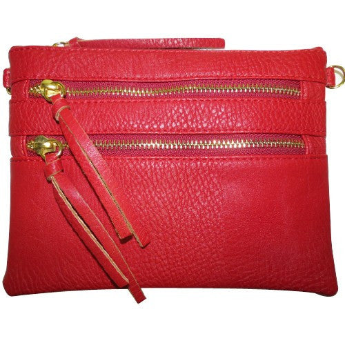 Red Double Zipper Crossbody