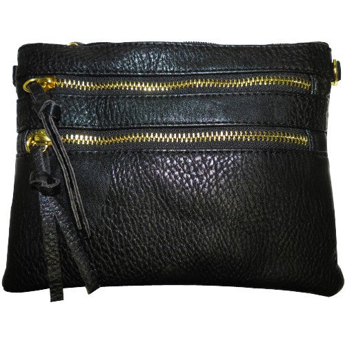 Black Double Zipper Crossbody