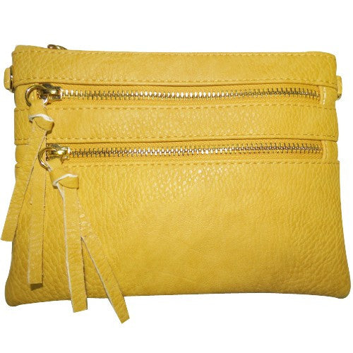 Mustard Double Zipper Crossbody
