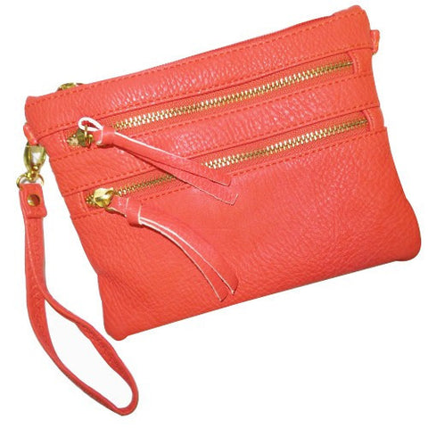 Coral Double Zipper Crossbody