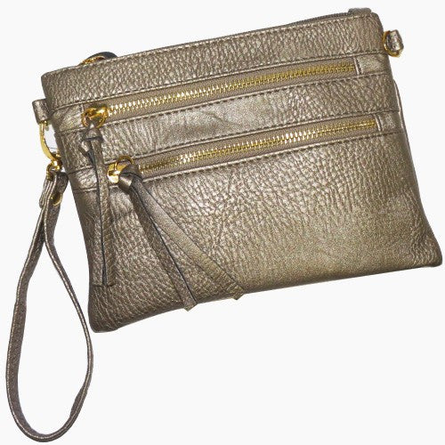 Pewter Double Zipper Crossbody