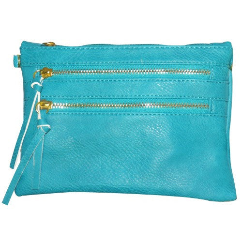 Aqua Double Zipper Crossbody