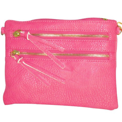 Hot Pink Double Zipper Crossbody