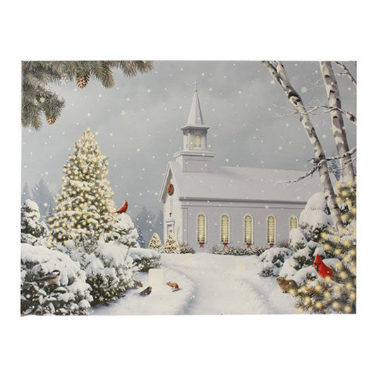 Lighted Church Print - Battery Operated
