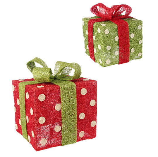 Lighted Polka Dot Presents - Set of 2