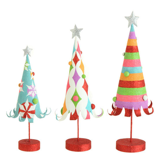 Glittered Trees - Set of 3