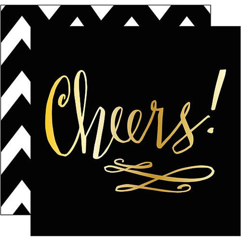 Cocktail Napkins - Black & Gold - Cheers