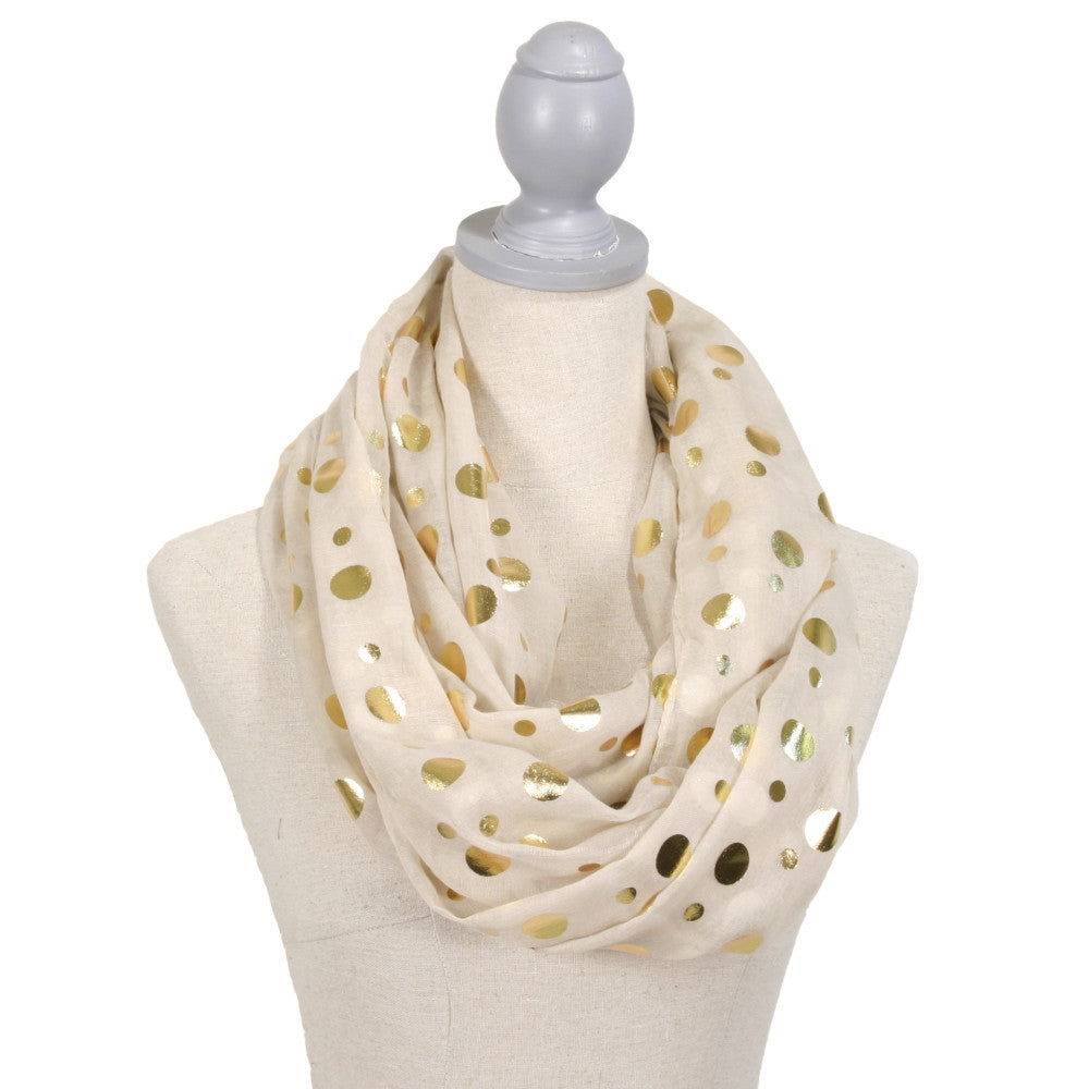 Gold Foil Polka Dot Infinity Scarf - Ivory