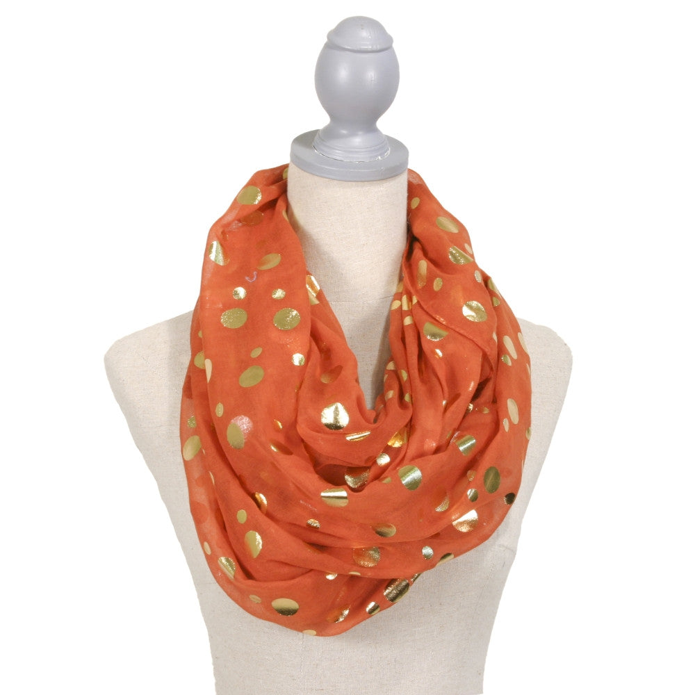 Gold Foil Polka Dot Infinity Scarf - Orange