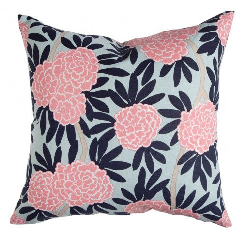 Navy Fleur Chinoiserie Pillow Cover
