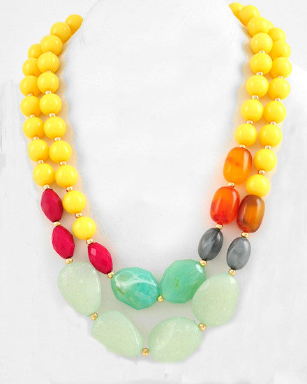 Yellow Colorful Strands Necklace