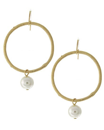 Ryan Hammered Gold Pearl Earrings