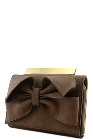 Leather Bow Clutch - 3 Color Options