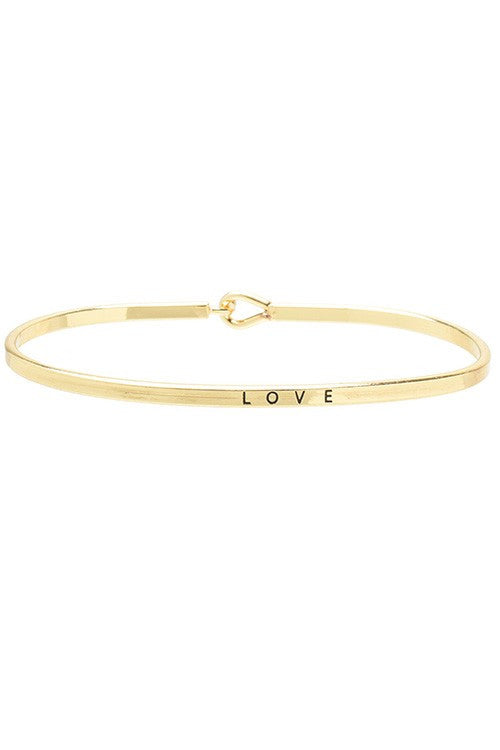 Thin Gold Quote Bracelet - Love
