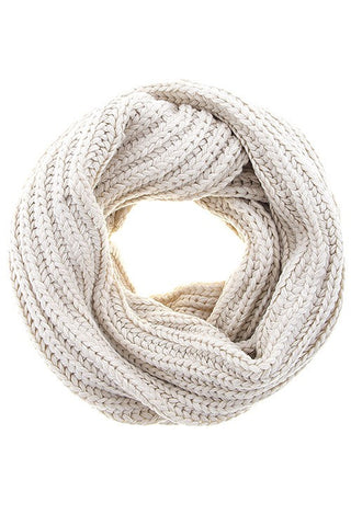 Thick Ribbed Infinity Scarf - Ivory