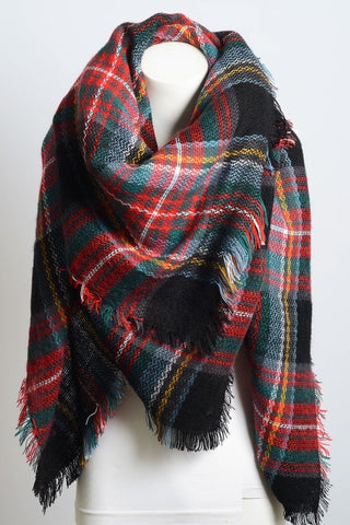 Plaid Blanket Scarf - Black Blend