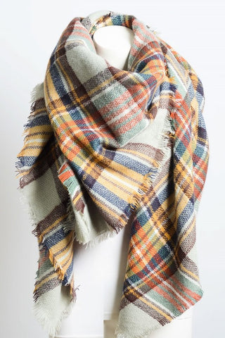 Plaid Blanket Scarf - Pastel Play