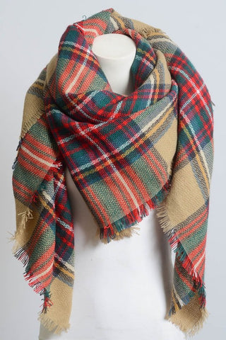 Plaid Blanket Scarf - Tan Multi