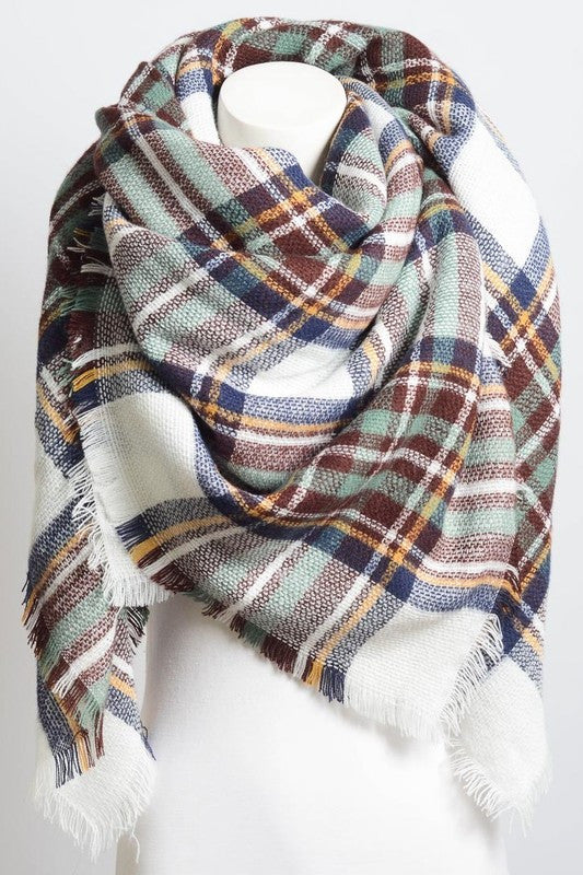 Plaid Blanket Scarf - Rain Rust