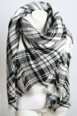 Plaid Blanket Scarf - Black & White