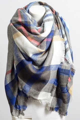 Plaid Blanket Scarf - Bashful Blue