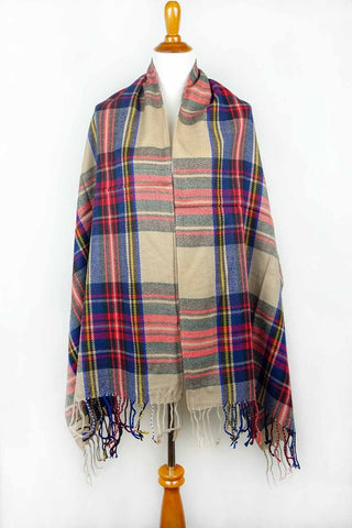 Plaid Blanket Scarf with Fringe - Tan w/ Blue