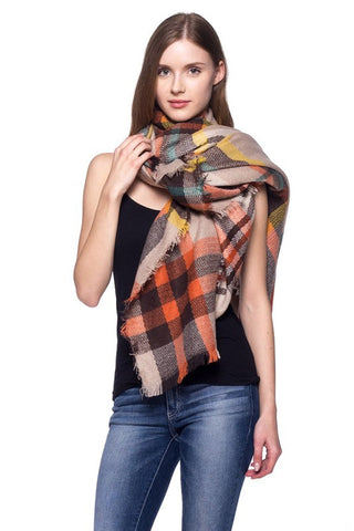 Plaid Blanket Scarf - Crisp