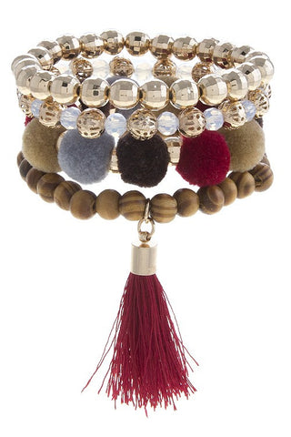Pippa Pom & Tassel Bracelets - Set of 4 - Darks