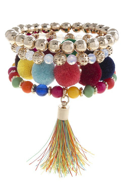 Pippa Pom & Tassel Bracelets - Set of 4 - Brights