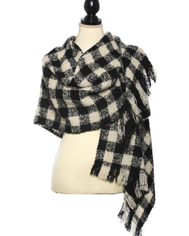 Buffalo Check Blanket Scarf - Black/Ivory