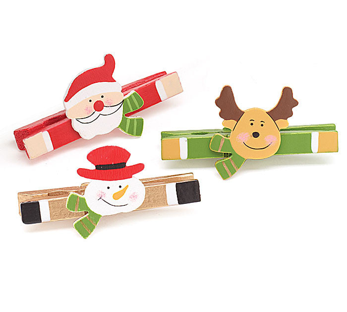 Hand Painted Christmas Clips - Set of 3