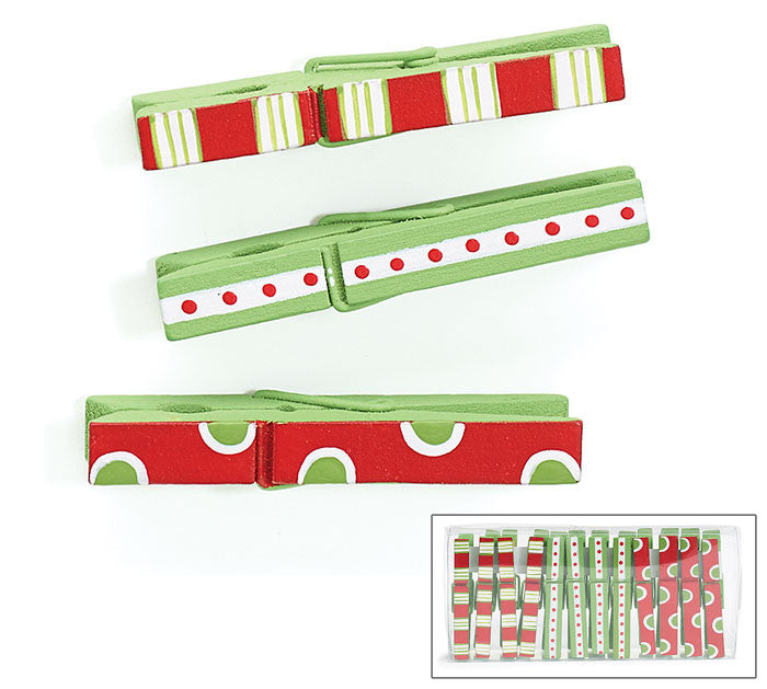 Large Hand-Painted Christmas Clothespin Clips - pkg of 12