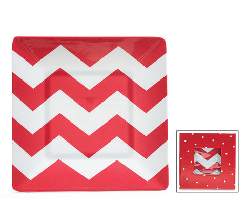 Chevron Melamine Plates - Set of 4