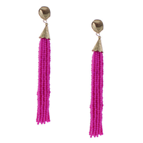 Pixi Beaded Fringe Tassel Earrings - Hot Pink