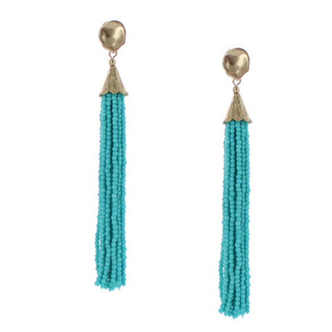 Pixi Beaded Fringe Tassel Earrings - Mint