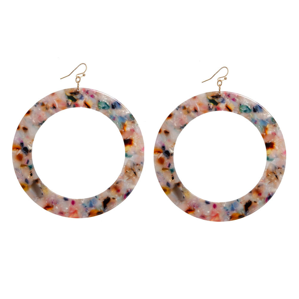 Lindy Large Round Acetate Earrings - Sprinkles