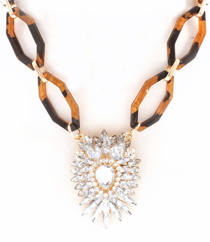 Crystal Motif Tortoise Necklace