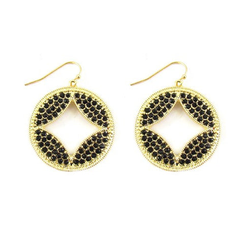 Black Stone Cutout Earrings