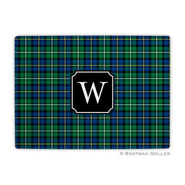 Glass Cutting Board - Black Watch Plaid