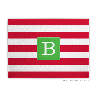 Glass Cutting Board - Awning Red Stripe