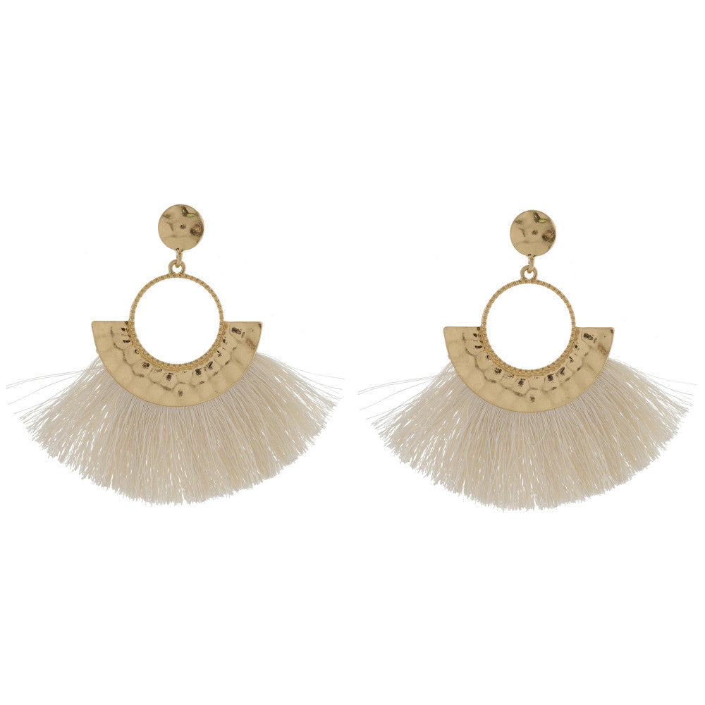 Camille Fringe Earrings - Ivory