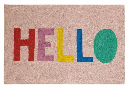Colorful Hello Hook Rug - 2ftx3ft