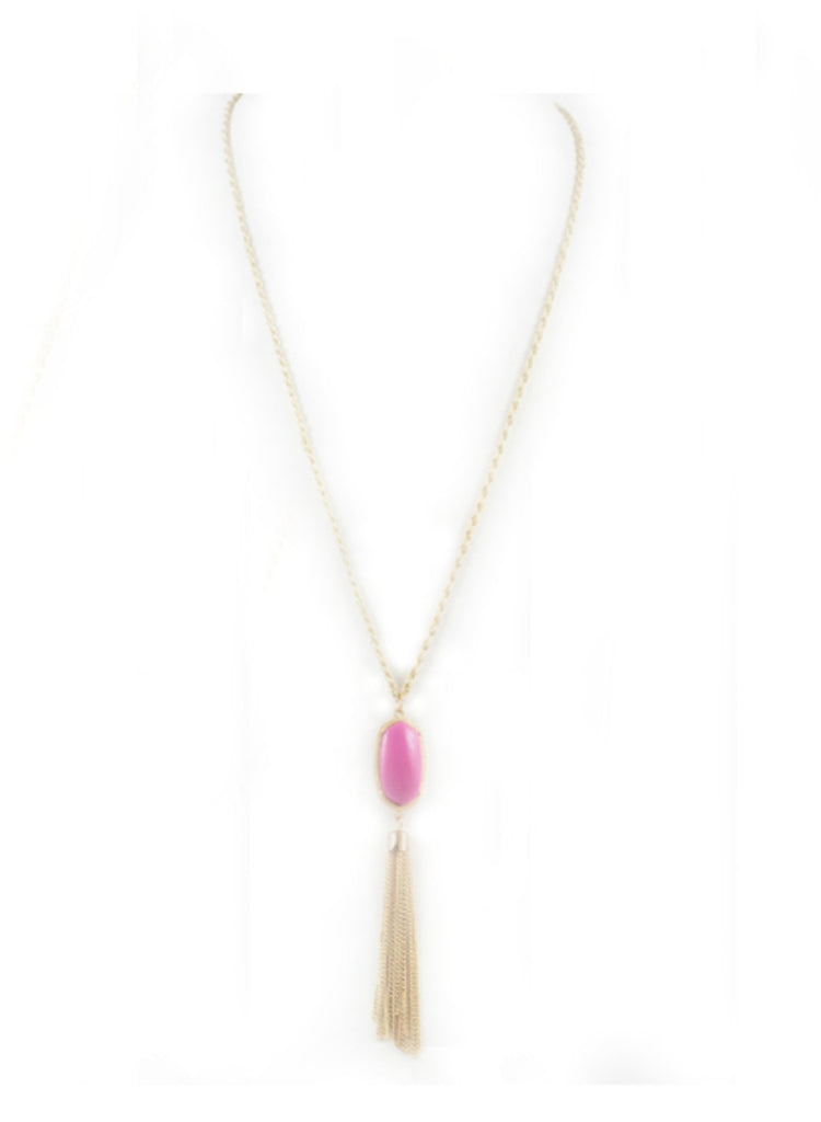 Tassel Stone Necklace - Magenta
