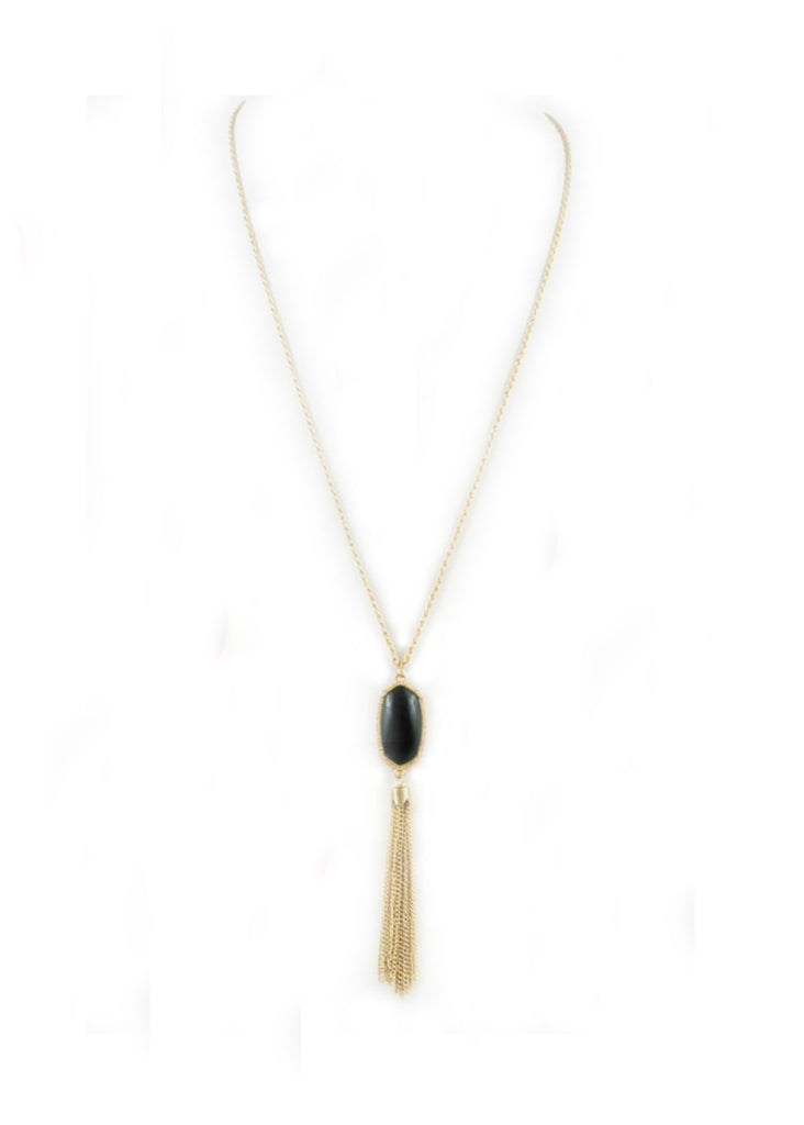 Tassel Stone Necklace - Black